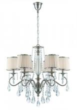Lite Source Inc. C71311 - 6 Lites Chandelier - Chrome/Fabric Shd/Crystal, E12 B 25Wx6