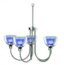 Lite Source Inc. LS-10755SS/BLU - 5-Lite Ceiling Lamp, Ss W/Inner-Blue Glass, 50Wx5/Jcd Type