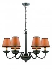 Lite Source Inc. LS-19656 - 6-Lite Chandelier, Dark Bronze/Kraft Shade, E12 B 40Wx6