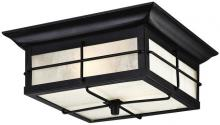 Westinghouse 6204800 - 2 Light Flush Textured Black Finish with Frosted Seeded Glass