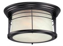 Westinghouse 6674600 - 2 Light Flush Weathered Bronze Finish with White Alabaster Glass