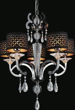 Crystal World 2028P25PB-5 - 5 Light Pearl Black Drum Shade Chandelier from our Hypnotic collection