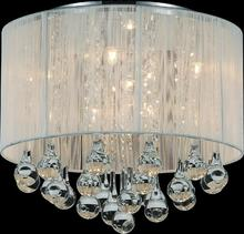 Crystal World 5006C14C-R (W) - 6 Light Chrome Drum Shade Flush Mount from our Water Drop collection