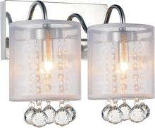 Crystal World 5062W12C-2 (Clear + W) - 2 Light Chrome Vanity Light from our Radiant collection
