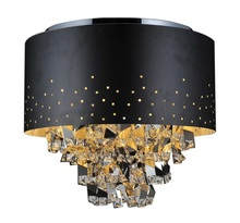 Crystal World 5075C18B - 5 Light Black Drum Shade Flush Mount from our Carmella collection
