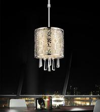 Crystal World 5318P6ST (Off White) - 1 Light Drum Shade Mini Pendant with Satin Nickel finish