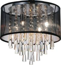 Crystal World 5519C13C (Black) - 4 Light Chrome Drum Shade Flush Mount from our Renee collection