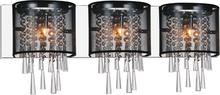 Crystal World 5519W29C-3 (Black) - 3 Light Chrome Vanity Light from our Renee collection