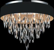 Crystal World 5534C23C Black - 9 Light Chrome Drum Shade Flush Mount from our Excel collection
