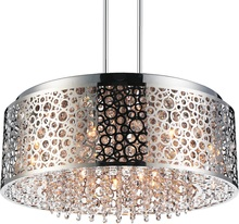 Crystal World 5536P24ST - 9 Light Drum Shade Chandelier with Chrome finish